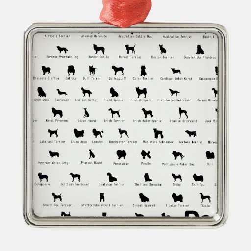 Nombre de los perros adorno navideño cuadrado de metal