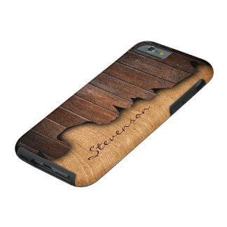 Nombre de madera astillado país rústico del funda resistente iPhone 6