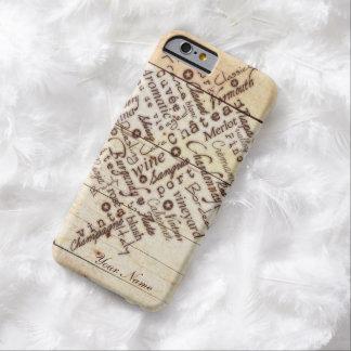 Nombre de madera quemado rústico de la tipografía funda barely there iPhone 6
