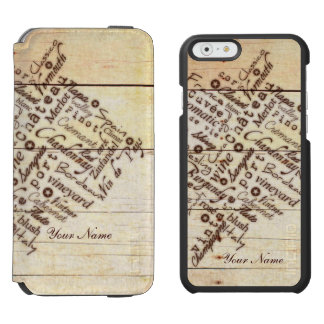 Nombre de madera quemado rústico de la tipografía funda billetera para iPhone 6 watson