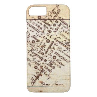 Nombre de madera quemado rústico de la tipografía funda iPhone 7