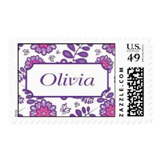 Nombre de Olivia en frontera Sello