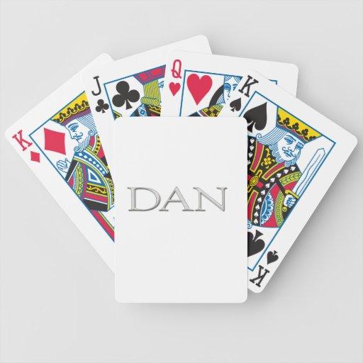 """Nombre de plata aumentado personalizado de """"Dan"""" Barajas De Cartas"""