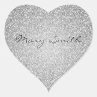 Nombre de plata del personalizado del brillo pegatinas corazon