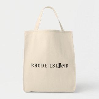 Nombre de Rhode Island con la letra formada estado Bolsa Tela Para La Compra