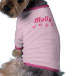 Nombre del animal de compañía rosado adaptable de  camisa de mascota