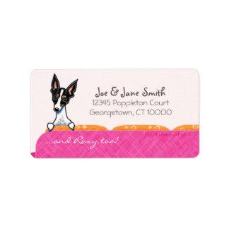 Nombre del animal de compañía rosado del personali etiqueta de dirección