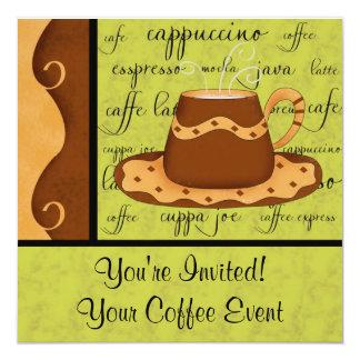 Nombre del arte de la taza de café del tablero de invitación 13,3 cm x 13,3cm