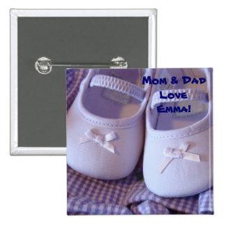¡Nombre del bebé del amor de la mamá y del papá! Pin Cuadrado
