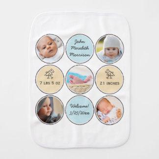 Nombre del bebé del collage de la foto, stats del paños de bebé