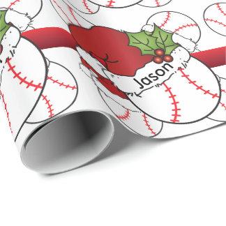 Nombre del béisbol el   DIY del navidad del gorra Papel De Regalo