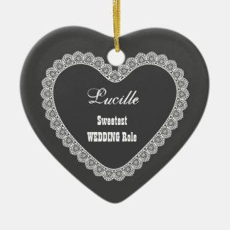 Nombre del BODA y gris de carbón de leña del Adorno Navideño De Cerámica En Forma De Corazón