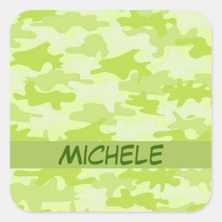 Nombre del camuflaje de Camo de la verde lima Pegatina Cuadrada