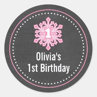 Nombre del cumpleaños de Onederland del invierno Pegatina Redonda