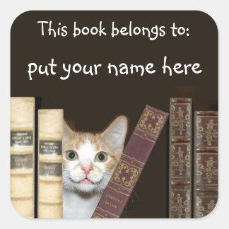 Nombre del gato y de los libros pegatina cuadrada
