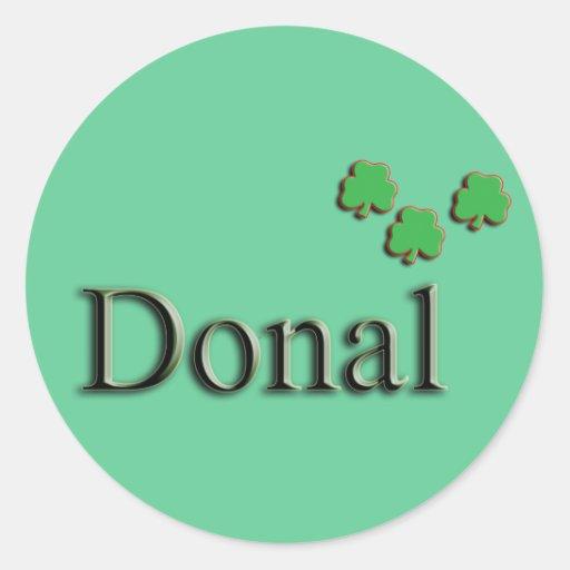 Nombre del irlandés de Donal Pegatina Redonda