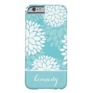 Nombre del monograma del estampado de flores de la funda de iPhone 6 barely there