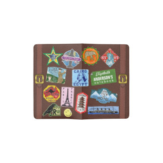 Nombre del pegatina de la maleta del World Travel Funda Para Libreta Y Libreta Pequeña Moleskine