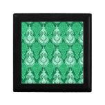 Nombre del personalizable de Paisley del verde esm Cajas De Recuerdo