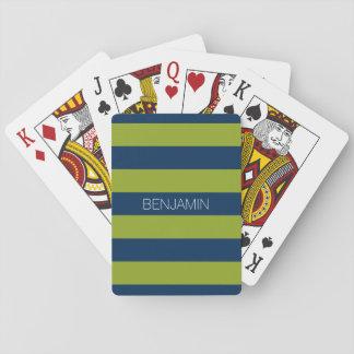 Nombre del personalizado de las rayas del rugbi de baraja de póquer
