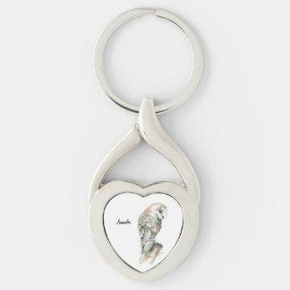 Nombre del personalizado del arte de la naturaleza llavero plateado en forma de corazón