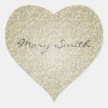 Nombre del personalizado del brillo del oro calcomanías corazones personalizadas