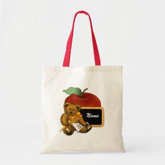 Nombre del personalizado del oso del profesor bolsa tela barata