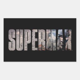 Nombre del superhombre pegatina rectangular