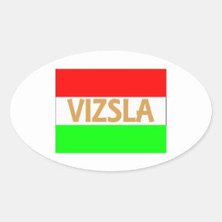 nombre del vizsla en Hungary-Flag.jpg Pegatina Ovalada