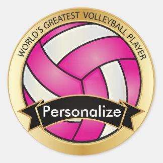 Nombre del voleibol el | DIY de las rosas fuertes Pegatina Redonda