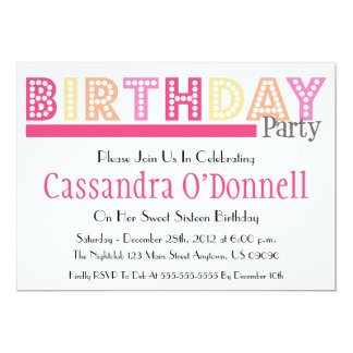 Nombre en invitaciones de la fiesta de cumpleaños invitaciones personalizada
