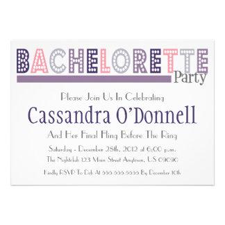 Nombre en las luces Bachelorette que el fiesta inv Invitación Personalizada