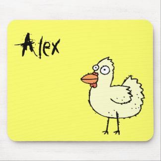 Nombre enrrollado Mousepad Alex del pollo de la gr Alfombrillas De Raton