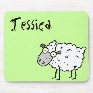 Nombre enrrollado Mousepad Jessica de las ovejas d Alfombrillas De Ratón