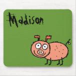 Nombre enrrollado Mousepad Madison del cerdo de la Tapete De Ratones