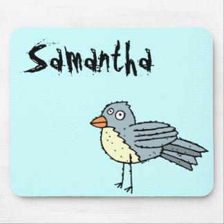 Nombre enrrollado Mousepad Samantha del pájaro de Alfombrilla De Ratón