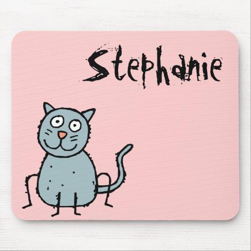Nombre enrrollado Mousepad Stephanie del gato de l Tapete De Ratones