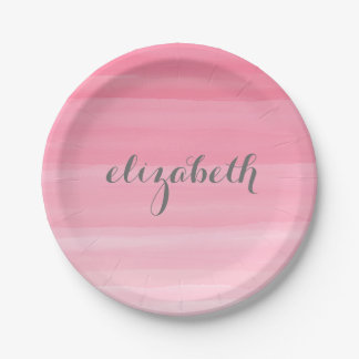 Nombre femenino rosado del monograma de Ombre de Plato De Papel De 7 Pulgadas