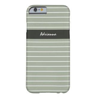 Nombre fino de la moda de las rayas de la verde funda barely there iPhone 6