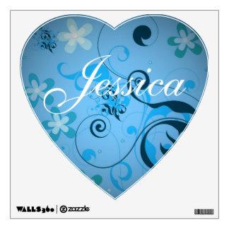 Nombre floral azul en forma de corazón del vinilo