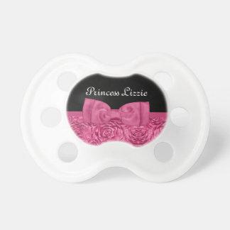 Nombre floral color de rosa rosado y negro bonito chupete de bebe