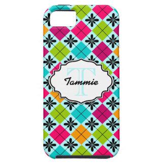 Nombre floral colorido del monograma del modelo de iPhone 5 Case-Mate protectores