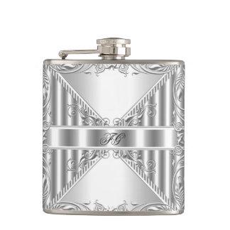 Nombre floral de plata elegante del monograma de l