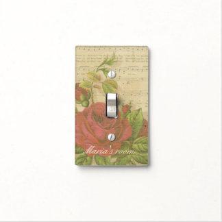 Nombre floral del personalizado de la hoja de músi cubiertas para interruptor