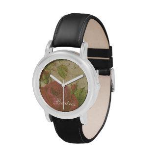 Nombre floral del personalizado de la hoja de músi relojes de mano