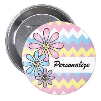 Nombre floral en colores pastel de Chevron el | Pin Redondo De 3 Pulgadas
