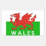 nombre galés del texto de la bandera de país de Pa Rectangular Pegatinas