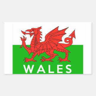 nombre galés del texto de la bandera de país de pegatina rectangular