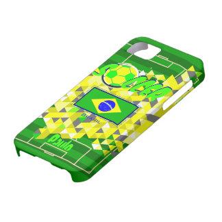 Nombre geométrico Pablo de la bandera del Brasil d iPhone 5 Cobertura