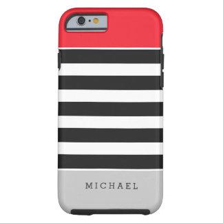 Nombre gris rojo del monograma de las rayas funda de iPhone 6 tough